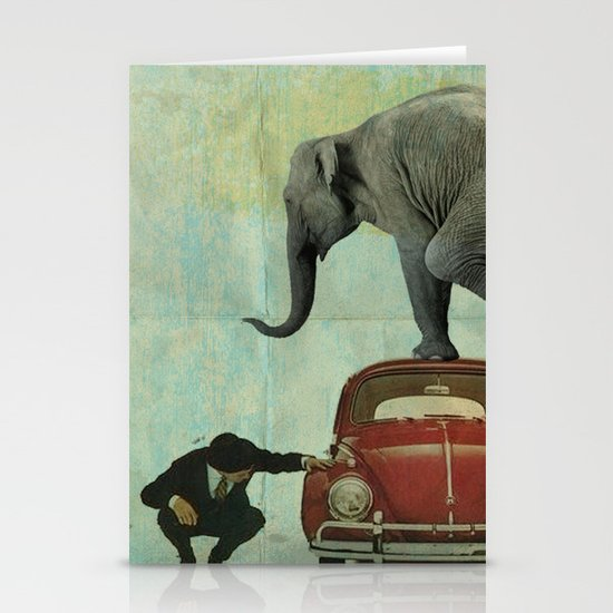 Looking for Tiny _ elephant on a red VW beetle Stationery Card