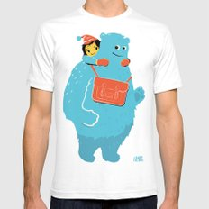 Blue-Monster Piggy-Ride SMALL Mens Fitted Tee White
