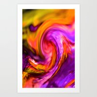 Purple And Orange Spiral Art Print