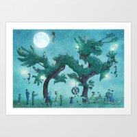 Dragon Topiary - Night  Art Print