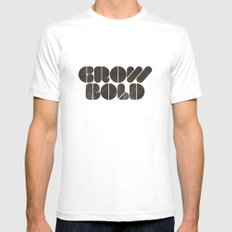 GROW BOLD White Mens Fitted Tee SMALL