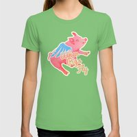 When Pigs Fly Womens Fitted Tee Grass SMALL