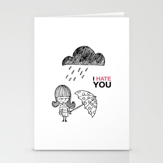I Hate You / Rain Stationery Card