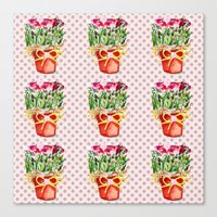 Polka Dots and Pots of Dried Roses Canvas Print