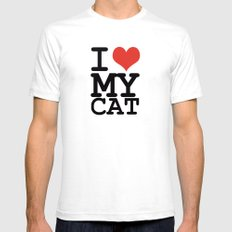 I love my cat White Mens Fitted Tee SMALL