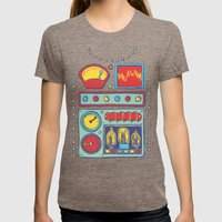 Retrobot Womens Fitted Tee Tri-Coffee SMALL