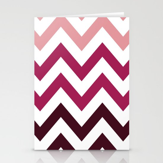 PINK FADE CHEVRON Stationery Card