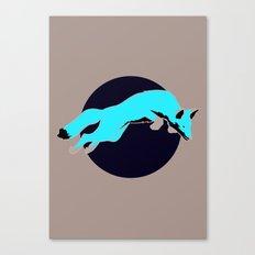 Night Fox Flies over the Moon Canvas Print