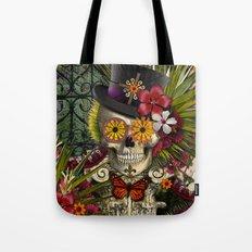 Baron in Bloom - Botanical Skull Baron Samedi Voodoo Deity Tote Bag