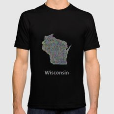 Wisconsin Map Mens Fitted Tee Black SMALL
