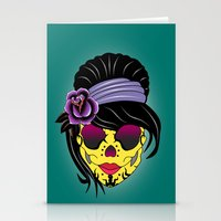 sugar skull Stationery Cards featuring SUGAR SKULL by mark ashkenazi