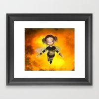 Little Bee Girl Golden Clouds Framed Art Print