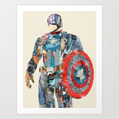modern capt america Art Print