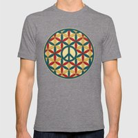 Peace Geometric Circles Mens Fitted Tee Tri-Grey SMALL