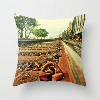Train Track Throw Pillow
