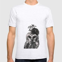 Portrait of Owl Mens Fitted Tee Ash Grey SMALL