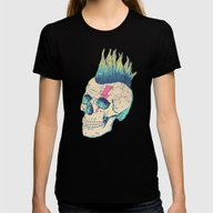 Skull Punk Womens Fitted Tee Black SMALL