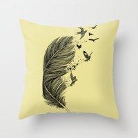 Feather Birds BW Throw Pillow