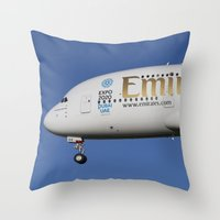 Emirates A380 Airbus Throw Pillow