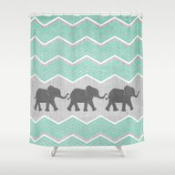 Three Elephants - Teal A… Shower Curtain