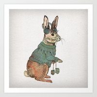 rabbit Art Prints featuring Rabbit by David Fleck