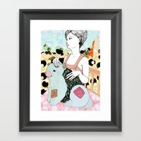 With Puppy Framed Art Print