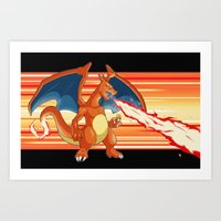 Fire Pocket Monster #006 Art Print