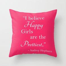 Happy Girls - Hot pink 2 Throw Pillow