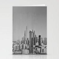 Black and White Philadelphia Skyline Stationery Cards