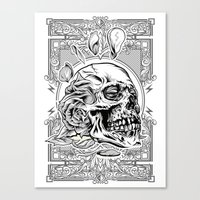 Skullflower Black and White  Canvas Print