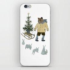 Bear, Christmas Tree and Bunnies iPhone & iPod Skin