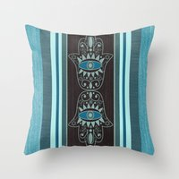 Aqua Double Denim Hamsas Throw Pillow
