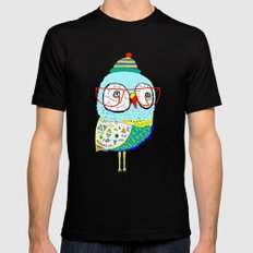 Bobble Hat Owl. Mens Fitted Tee Black SMALL