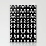 Skull And X Bones In Bla… Stationery Cards