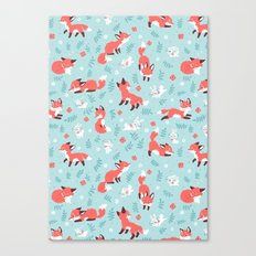 Fox and Bunny Pattern Canvas Print