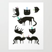 Little Cats In Colourful… Art Print