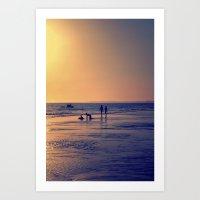 Walking By The Sea Art Print