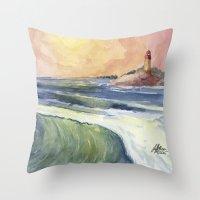 High Tide At Sunset Throw Pillow