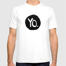 Yo. SMALL White Mens Fitted Tee