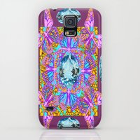 Galaxy S5 Cases featuring Pink Butterflies Medley Aqua Gems Puce Abstract by sharlesart