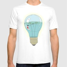 Life in a lightbulb. Day White Mens Fitted Tee SMALL