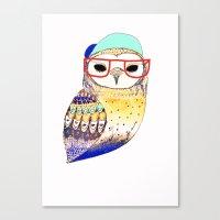 Hipster Owl, hipster, owl, owl art, illustration, print, children's, digital,  Canvas Print