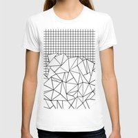 Abstract Grid #2 Black on White Womens Fitted Tee White SMALL