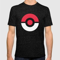 Pokeball Mens Fitted Tee Tri-Black SMALL