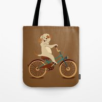Puppy on the bike Tote Bag