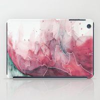 Watercolor pink & green, abstract texture iPad Case