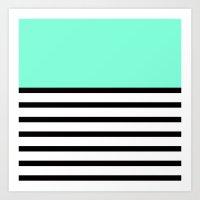 Tiffany Black and White Stripes Pattern Art Print