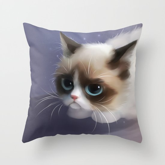 little grumpy things Throw Pillow