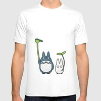 Chu & Chibi Totoro Pop art - Pink Version Mens Fitted Tee White SMALL
