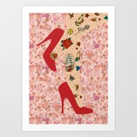 Red Walk Art Print